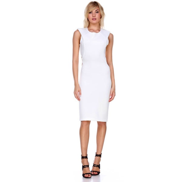 Stanzino Women's White Polyester Blend Sleeveless Bodycon Dress