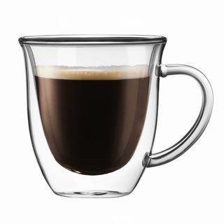 JoyJolt Serene Double Wall Insulated Glass 7.4-ounce Double Walled Coffee and Tea Mugs With Handle (Set of 2)