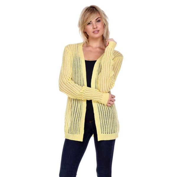 Stanzino Women's Betty Boop Yellow Acrylic Knit Cardigan