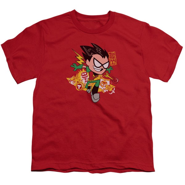 Teen Titans Go/Robin Short Sleeve Youth 18/1 Red