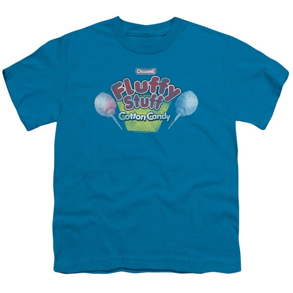 Tootsie Roll/Fluffy Stuff Logo Short Sleeve Youth 18/1 in Turquoise