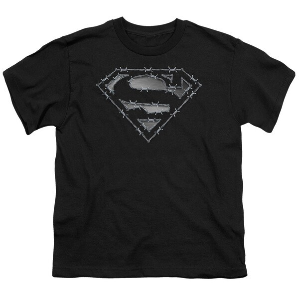 Superman/Barbed Wire Short Sleeve Youth 18/1 in Black