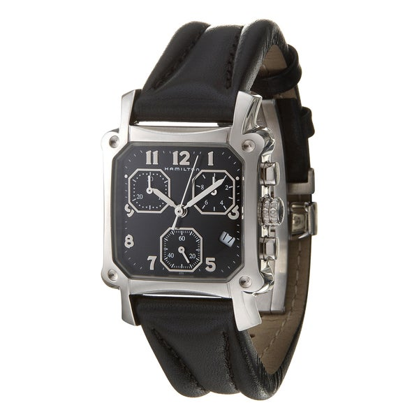 Hamilton Women's Leather and Stainless Steel Square Swiss Quartz Watch
