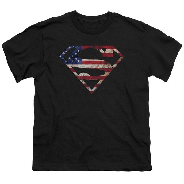 Superman/Super Patriot Short Sleeve Youth 18/1 in Black