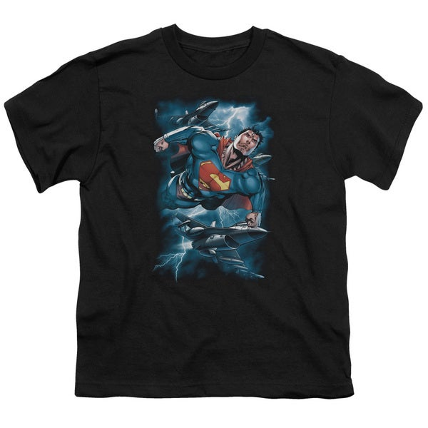 Superman/Stormy Flight Short Sleeve Youth 18/1 in Black