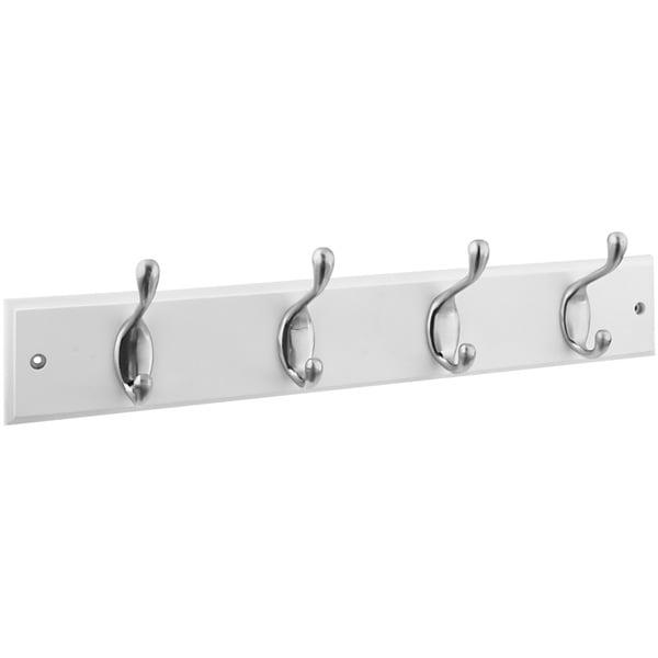 """Stanley Hardware 813030 4 Satin Nickel Hooks On 18"""" White Rail Hookrail 21125783"""