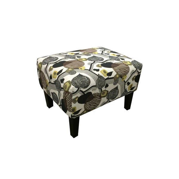 Emerald Marion Leaf Print Accent Ottoman