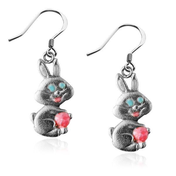 Easter Bunny Charm Earrings in Silver