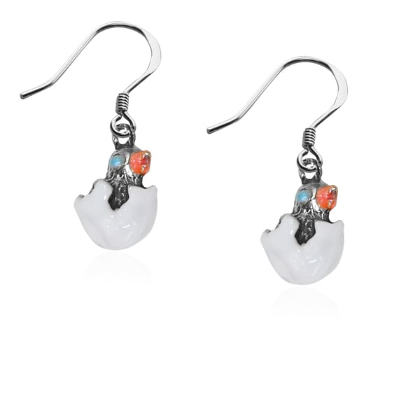 Easter Chick Charm Earrings in Silver