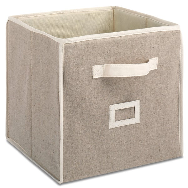 "Whitmor 6082-908 12"" Natural Linen Collapsible Cube"
