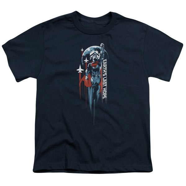 Man Of Steel/Earths Last Hope Short Sleeve Youth 18/1 in Navy