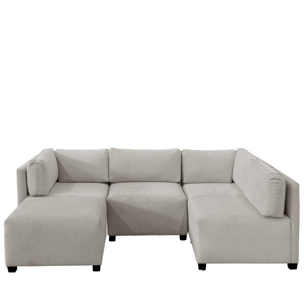 Skyline Furniture Velvet Light Grey Sectional Sofa