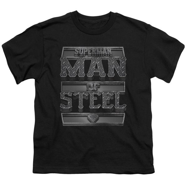Superman/Steel Text Short Sleeve Youth 18/1 in Black