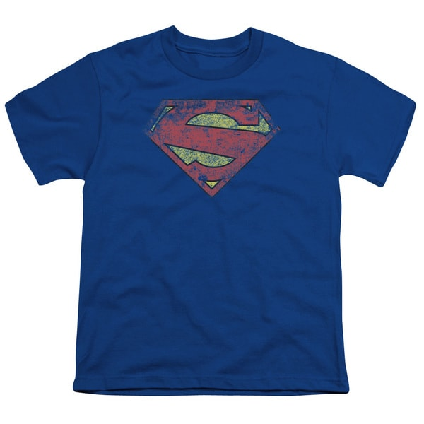 Superman/New 52 Shield Short Sleeve Youth 18/1 in Royal Blue