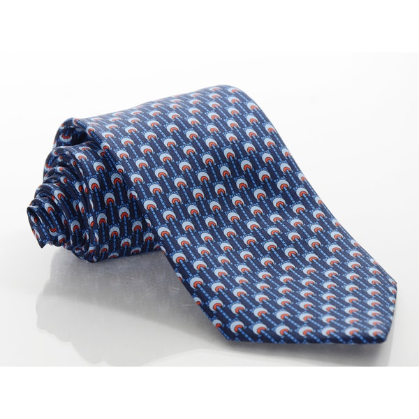Brioni Silk Blue/ Red Wheels Tie
