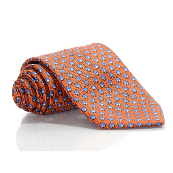 Brioni Silk Orange Wheels Tie