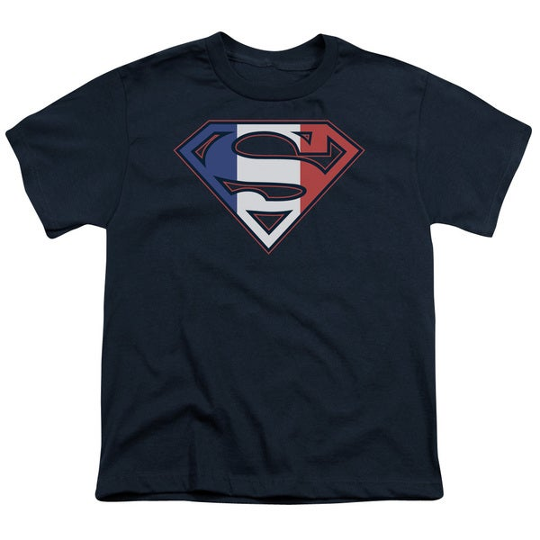 Superman/French Shield Short Sleeve Youth 18/1 in Navy