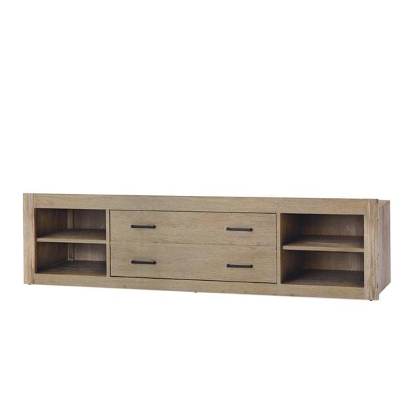 Universal #myRoom Grey/Parchment Elm Veneer Wood Storage Unit With Side Rail Panel