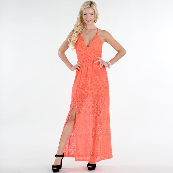 Nikibiki Women's Orange Nylon/Spandex Lace Front-slit Maxi Dress