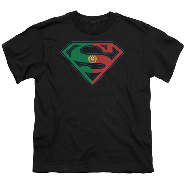 Superman/Portugal Shield Short Sleeve Youth 18/1 in Black