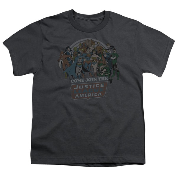 DC/Join The Justice League Short Sleeve Youth 18/1 Charcoal
