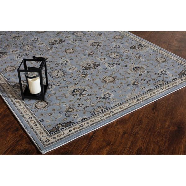 Scarlette Collection Barkley Blue/Tan/Grey Polypropylene Power-loomed Area Rug (5' x 8')