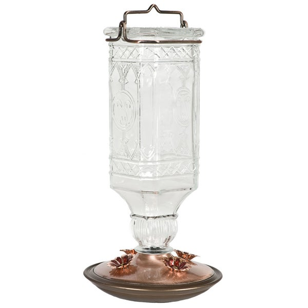 Perky Pet 24 Oz Clear Hummingbird Antique Bottle Bird Feeder