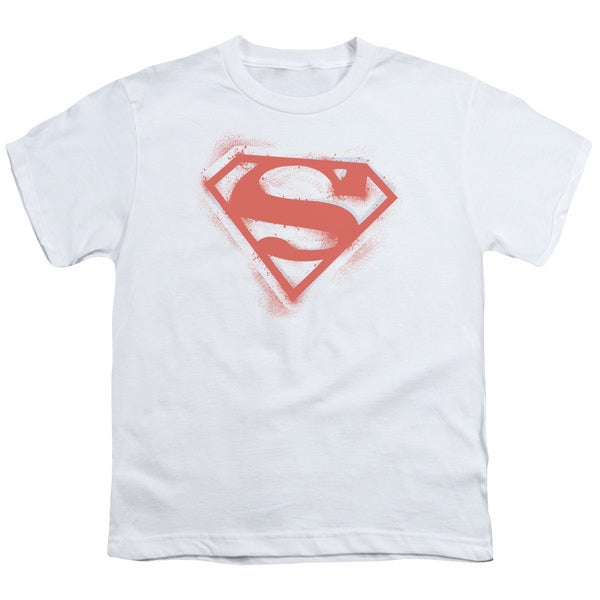 Superman/Spray Paint Shield Short Sleeve Youth 18/1 White