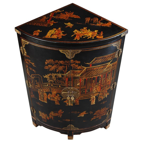 Hand-painted Oriental Black and Gold Storage Corner Cabinet (China)