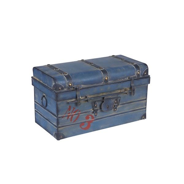 Blue Metal Small Steamer Trunk