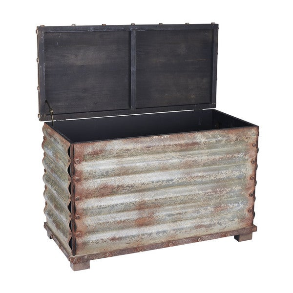 Household Essentials Grey/Black Corrugated Metal Storage Chest