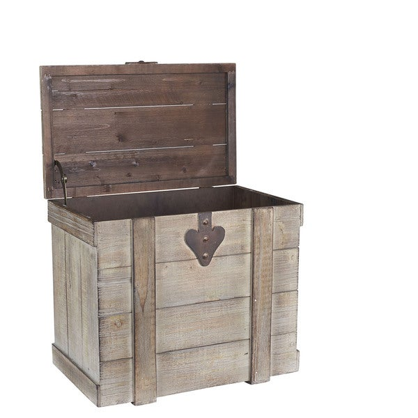 Household Essentials Bleached Grey Wood/Metal Medium Home Chest