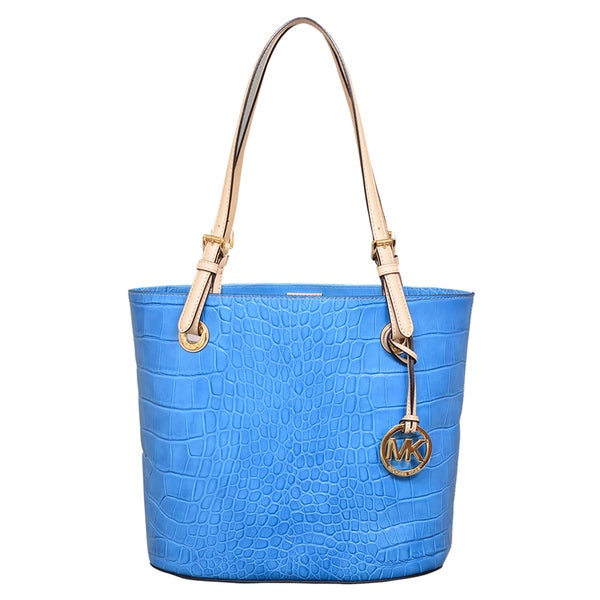 Michael Kors Medium Jet Set Item Blue Tote Bag