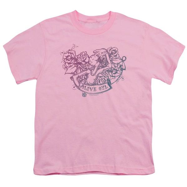 Popeye/Olive Oyl Tattoo Short Sleeve Youth 18/1 Pink