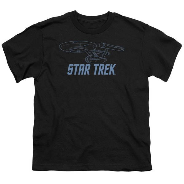 Star Trek/Enterprise Outline Short Sleeve Youth 18/1 Black