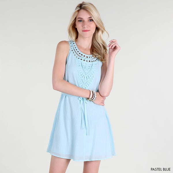 Nikibiki Women's Macrame Pastel Blue Neck Applique A-line Dress