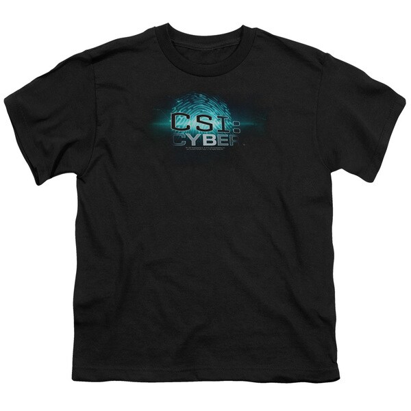 CSI: Cyber/Thumb Print Short Sleeve Youth 18/1 Black