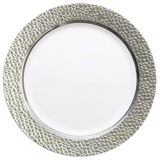 Table To Go I Can't Believe Its Plastic Silver Ivory 7.5-inch Hammered Design Plates