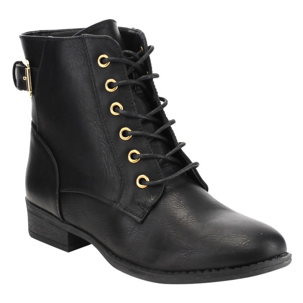 Top Moda Women's Lace Up Low Stacked Heel Hiker Ankle Booties