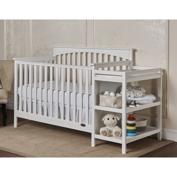 Dream On Me Chloe White Wood 5-in-1 Convertible Crib with Changer