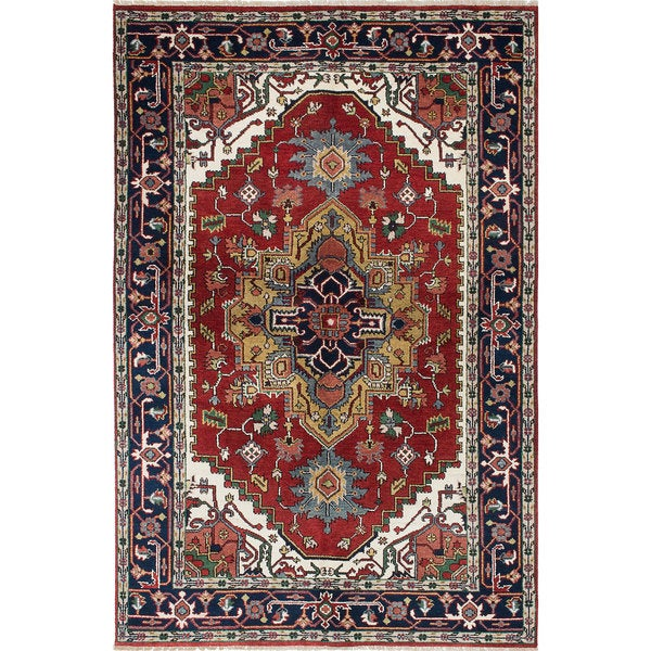 eCarpetGallery Red/Blue Wool Hand-Knotted Serapi Heritage Rug (5'10 x 8'10) 21146739