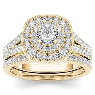 De Couer 14k Yellow Gold 3/4ct TDW Diamond Double Halo Bridal Ring Set