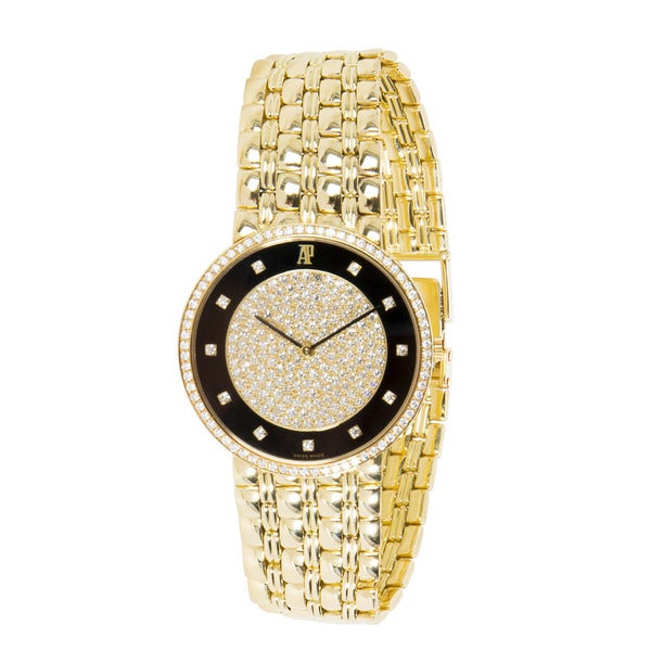 Pre-Owned Audemars Piguet Vintage Mens Watch in 18K Yellow Gold and Diamonds