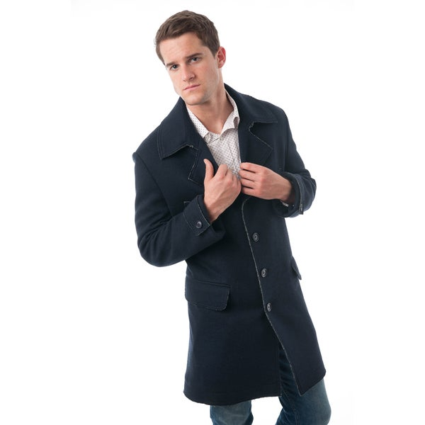 Men's Navy Blue Rough Selvedge Wool Blend Car Coat