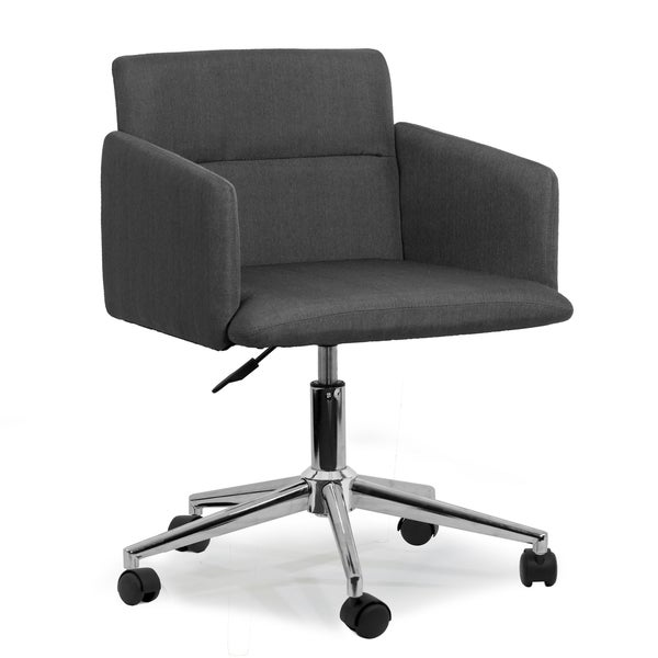 Aila Dark Grey Fabric Swivel Office Chair With Wheel Base
