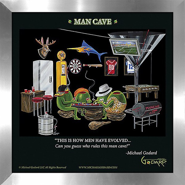 "Michael Godard ""Man Cave"" Fine Framed & Canvassed Wall Art 21151571"