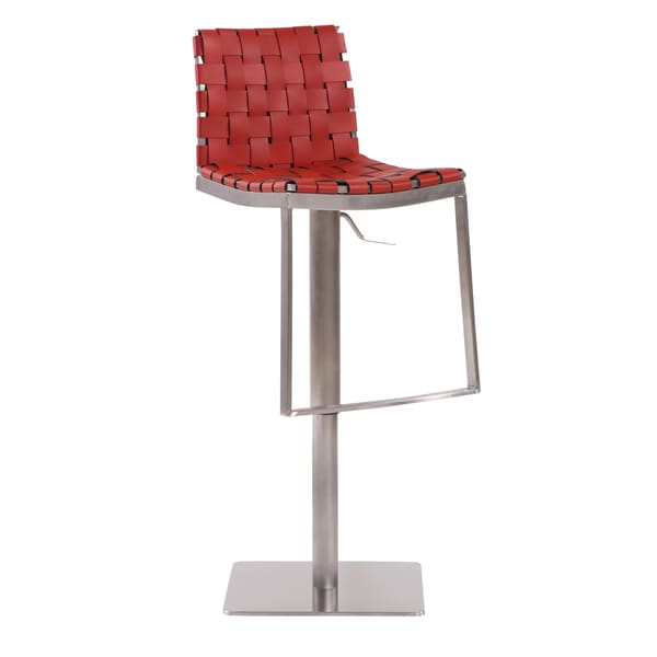 Lavona Red Stainless Steel Faux Leather Lattice-weaved Barstool