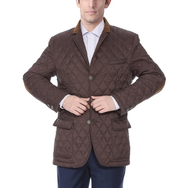 Men's Brown Quilted Notched Lapel Sports Coat 21151896