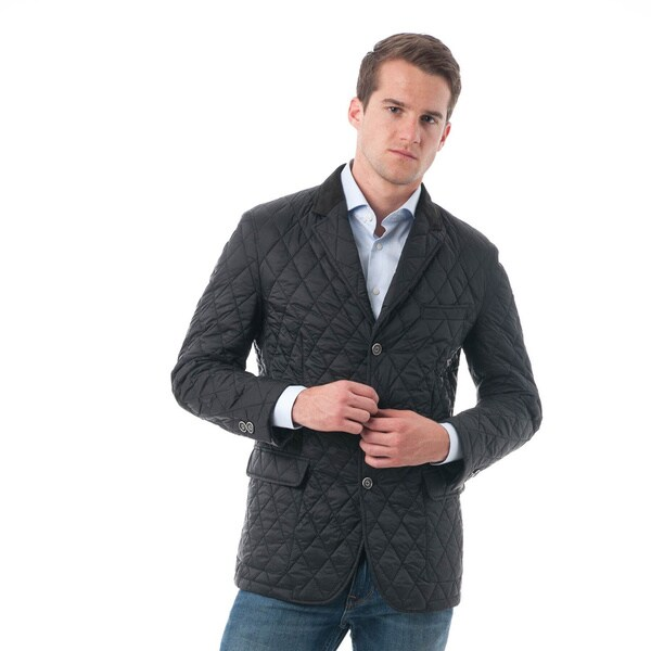 Men's Black Quilted Notched Lapel Sports Coat