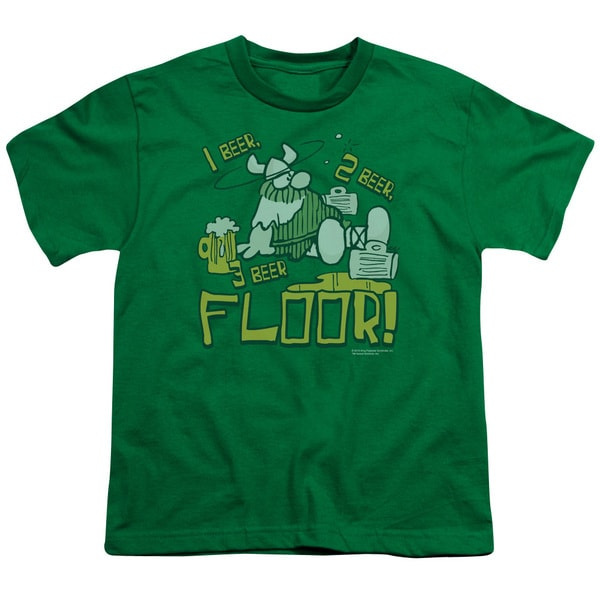 Hagar The Horrible/1 2 3 Floor Short Sleeve Youth 18/1 in Kelly Green